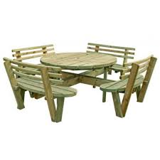 swedish redwood circular picnic bench with backrests