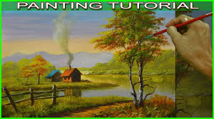 acrylic landscape painting tutorial autumn houses near the river in basic step by step