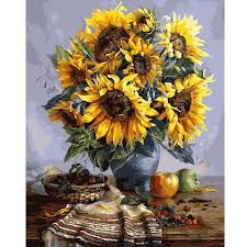 40x50cm frameless sunflower canvas linen canvas oil painting diy paint by numbers home wall art on diy sunflower wall art with 40x50cm frameless sunflower canvas linen canvas oil painting diy