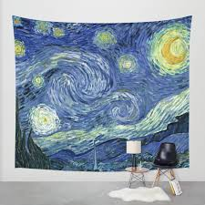 Small Picture Van Gogh Starry Night Fabric Wall Tapestry Wall Hanging Boho