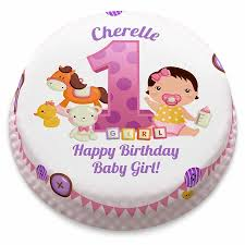 Personalised Pink First Birthday Girl Cake From 1499