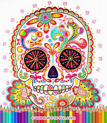 sugar skull coloring pages detailed