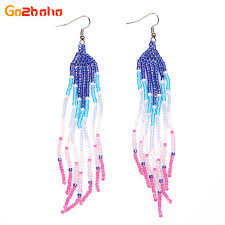 Bead Loom Patterns Classy Go48boho Fashion Drop Earrings Women Charm Beaded Tassel Earring Seed