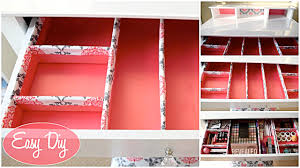 ... Drawer design, Pink Rectangle Modern Wooden Makeup Drawer Organizer  With Paper And Metal Design: