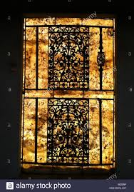 Decorative Security Grilles For Windows A Decorative Wrought Iron Security Grill Guards An Arched Window