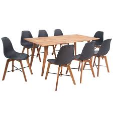 <b>Nine Piece Solid Acacia</b> Wooden Dining Set Black | Furniture ...
