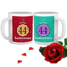 44th wedding anniversary gift set of 2 printed coffee mugs with rose