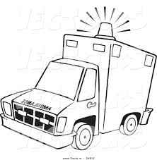 Vector of a Cartoon Ambulance with Lit Siren Light - Outlined ...