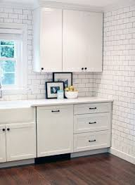 black cabinet pulls on gray cabinets. white cabinets with black/oil-rubbed-bronze hardware and a subway tile backsplash grey grout. | kitchen pinterest black cabinet pulls on gray e