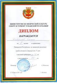в спорте Диплом за 2 место на первенстве Яльчикского района по тяжелой атлетике памяти А Н Кедрова среди школьников 2006г