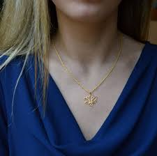 lotus gold plated necklace blue top by simply zuri