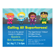 superheroes party invites superhero party invitations announcements zazzle