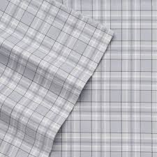 cuddle duds gray plaid flannel sheet set grey full bed sheets bedding com