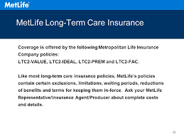28 metlife long term care insurance coverage is offered by the following metropolitan life insurance