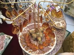 4 vintage amber crystal prism teardrop octagon chandelier glass res 1808030352