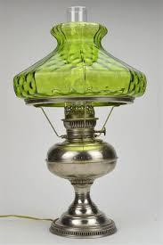 rayo antique nickel hurricane lamp with green art glass