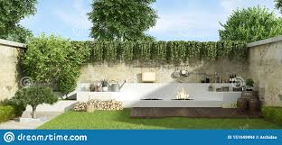 Barbecue Design For Garden Small Garden With Barbecue Stock Illustration Illustration