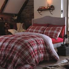 catherine lansfield tartan 100 brushed cotton flannelette duvet cover set red double