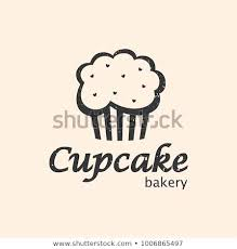 Cupcake Bakery Logo Design Vector Template In Black Color Textured