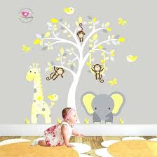 baby room wall sticker jungle decal yellow and grey nursery decor feat cheeky monkey a giraffe baby room wall sticker kids room decor  on jungle wall art for baby room with baby room wall sticker floral tree wall decal personalized name
