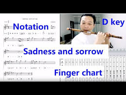 Sadness And Sorrow D Key Dizi With Finger Chart And Staff