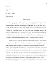 admissions essay please print legibly in blue or black ink only  3 pages the lottery essay