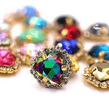 <b>NEW 12mm Fat Triangle</b> Bright purple rhinestones Glass Crystal ...