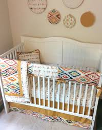 tan crib bedding baby boy set gold navy cream arrows chevron
