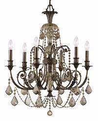 6 lights english bronze crystal candle chandelier