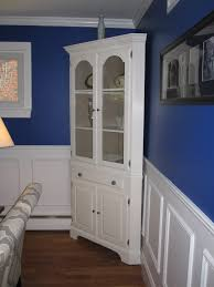 Tall Wainscoting favored white refinished corner cabinet for crafts display 5518 by xevi.us