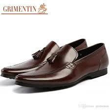 grimentin summer brown mens loafer shoes 100 genuine leather casual slip on tassel fashion designer mens dress shoes large size male shoes y shoes clogs