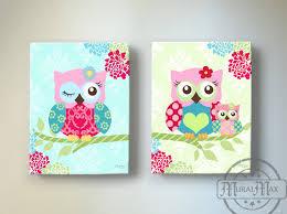 on little girl canvas wall art with owl nursery decor owl canvas art baby girl