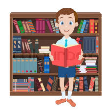 cartoon ilration with a boy reading a book and library with many books vector stock vector colourbox