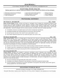Pricing Analyst Resume