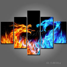 no frame canvas only 5 pieces wall painting dragon fair blue red battle abstract the fire