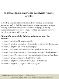Top 40 Building Maintenance Supervisor Resume Samples Inspiration Maintenance Supervisor Resume