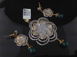 indian american diamond pendant set style no pen10 50 00