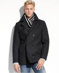 buffalo david bitton coat wool blend wind resistant peacoat with scarf