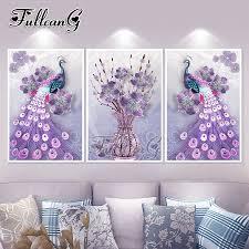 <b>FULLCANG diy</b> 5d <b>diamond</b> painting purple peacock <b>triptych</b> mosaic ...