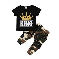 Us 5 63 6 Off Fashion Toddler Kids Baby Boys King Tops T Shirt Camo Pants Outfits Clothes In Clothing Sets From Mother Kids On Aliexpress