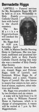Obituary: Bernadette Riggs - Newspapers.com