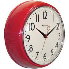 Retro Kitchen Wall Clocks Amazoncom Westclox 32042r Retro 1950 Kitchen Wall Clock 95