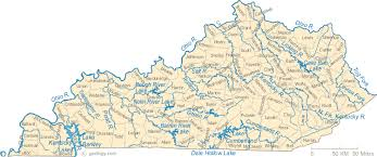 Map Of Kentucky Lakes Streams And Rivers