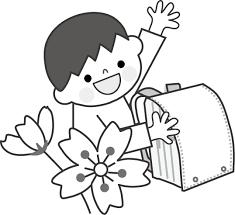 桜と子どもとランドセルの無料イラストフリー素材
