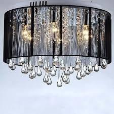 2 of 4 new modern drum shade crystal ceiling chandelier pendant light fixture lighting