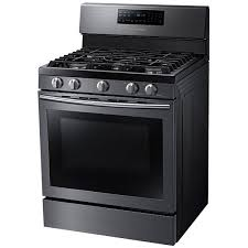 samsung range. stainless; samsung 5.8 cu. ft. free-standing gas range with convection (black stainless