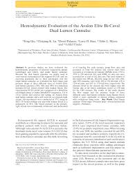Pdf Hemodynamic Evaluation Of The Avalon Elite Bi Caval