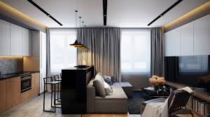 Apartment Cozy White Black Wall With Glass Window And Modern Contemporary Apartment Design