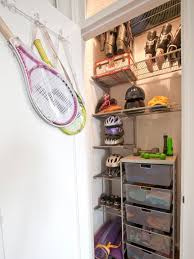 organized sports equipment closet
