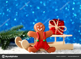 wooden toy sleigh gingerbread cookie gift box lights background stock photo